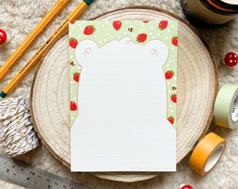 Strawberry Bear Pad ~ A6 Notepad ~ Lined / Notes / Lists ~ Organisational Stationery + Gift