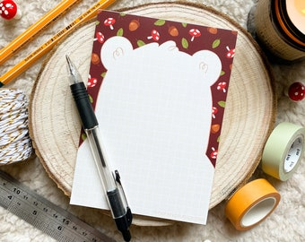 Forest Bear Pad ~ A6 Notepad ~ Gridded / Notes / Lists ~ Organisational Stationery + Gift