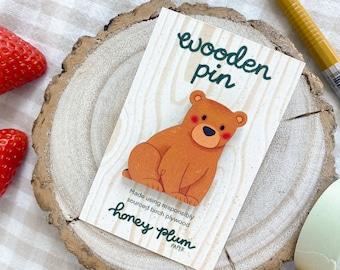 Bear Cub Pin ~ Cute Bear Wooden Pin / Badge ~ illustration / accessories / art ~ HoneyPlumPaper