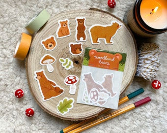 Woodland Bears Sticker Pack ~ 10 Forest Planner Stickers ~ illustration / painting / drawing