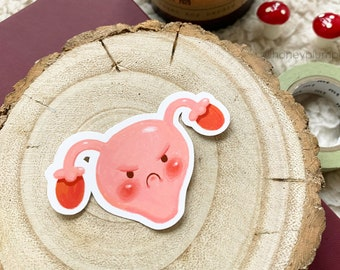 Grumpy Uterus Sticker ~ Planner / Journal Sticker ~ Period Stickers / Time of the Month ~ illustration / painting / drawing