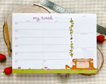 Weekly Planner Pad ~ A4 Desk Pad ~ Plan Your Week Notepad ~ Organisational Stationery + Gift