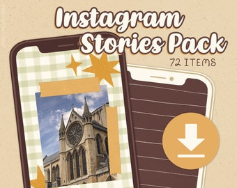 Instagram Stories Pack ~ 72 Items, Instant Download ~ Backgrounds, Washi, Stickers ~ Cosy Days, Earthy Colours ~ HoneyPlumPaper