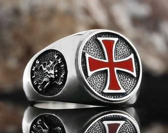 Black Warrior ring red templar cross martyrdom