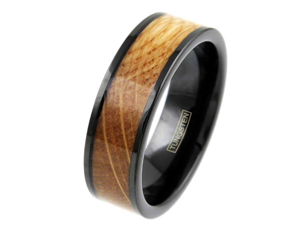 8mm Black Tungsten Whiskey Barrel Wood Inlaid Wedding Band Ring Jewelry TW