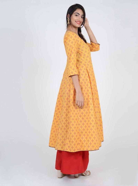Multiple Size/'s Lounge Comfort Wear Yellow With Red Block Print Angrakha Viscose Kurti