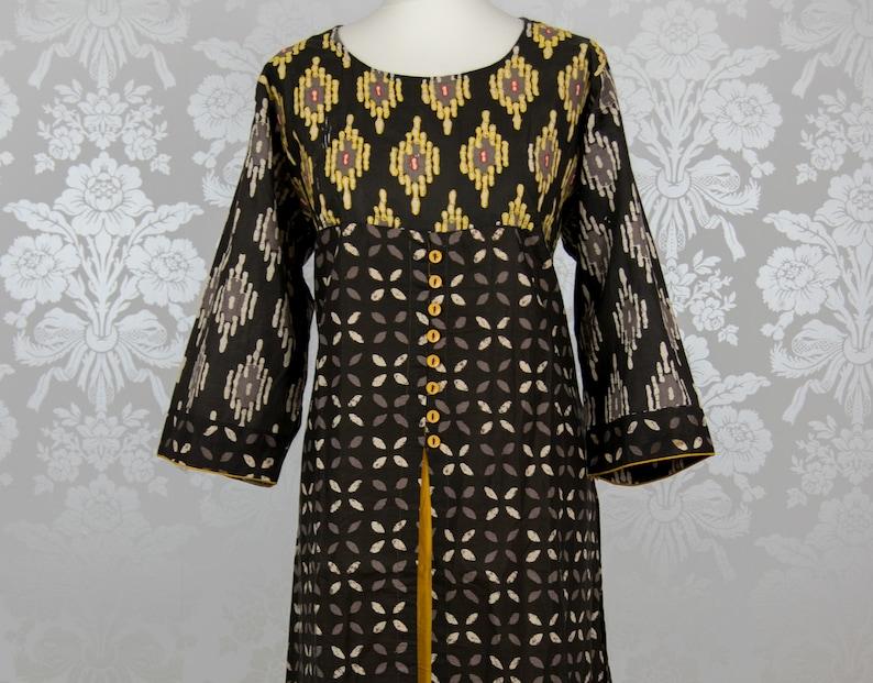 UK18XXL44 Lounge Comfort Wear Brown /& Yellow Cotton Kurti Long Kurti