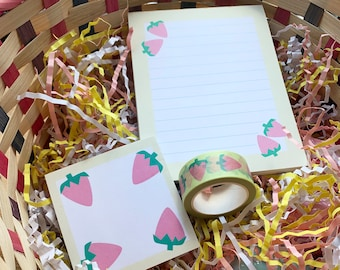 """Strawberry Lemonade Stationery Set: 1 A6 Notepad, 1 3"""" x 3"""" Post-it pad, and 1 10m 20mm Washi, in a sunwashed pastel yellow and pink"""