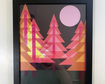"""Neon Forest: An Shimmery 11"""" x 14""""   27.94 x 35.56 cm Professionally Printed Minimalist Art Print for the alternative woodland enthusiast"""