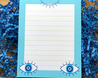 Evil Third Eye Stationery: Wake the third eye to shield you from the glare of the evil eye when contacting friends & penpals, A6ish 50 pages