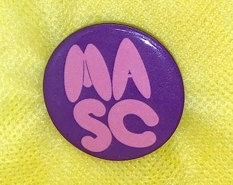 "Soft ""MASC"" 1.25"" Round Button, soft masculinity, toxic masculinity, gender queer, gay queer button badge, pinback button"
