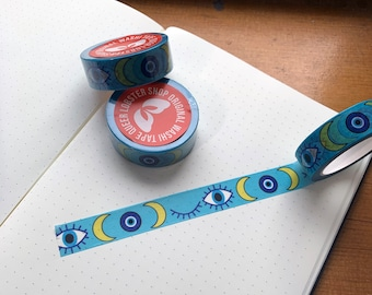 Evil Eye Washi: Surrealist washi to ward off negative energy and prying eyes from your journals, planners, or penpal letters. 15mm x 10m