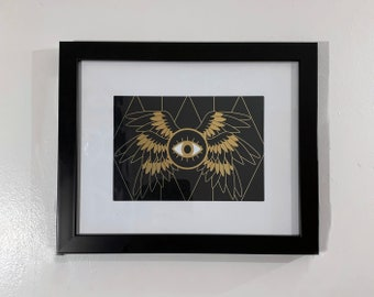 """Be Not Afraid: A 5"""" x 7"""" Biblically Accurate Angel foil print of Ophanim Seraphim Old testament Religious Imagery for your home and gameroom"""