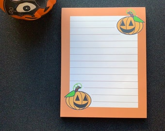Happy Pumpkin Notepad for Halloween and Autumn note taking and pen paling to all your Spoopy Friends and family, A6ish 50 sheets lined