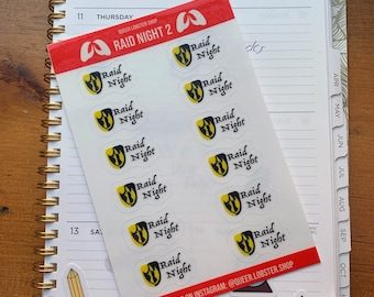 """Tank Raid Night Planner Sticker Sheets 12pc: MMORPGs, guildie gifts, World of Warcraft, endgame, FFXIV, 4"""" x 6"""""""