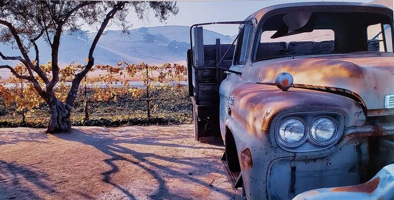 California hills Sunset Old Faithful  Antique Truck Print Fine Art Photography