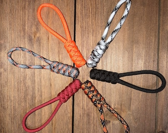 Coat /& Bag Zip Climbing Adventurer Nautical Rope Key Ring Keychain Accessory Set of 4 Paracord Diamond Zipper Pull PICK YOUR COLOUR