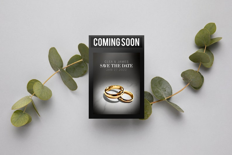 Printable Editable Template CATE Movie Poster Save the Date for Wedding Template Movie Teaser Poster Save the Date