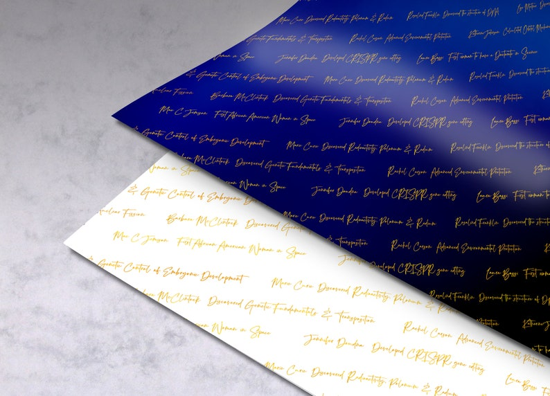 3 Styles of Women of Science Gift Wrap Instant Digital Download