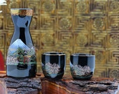 Japanese Sake Set, 3 Pc Sake Set, Mountain Temple Floral Scene, Black and Gold Porcelain Sake Set, Vintage Sake Set