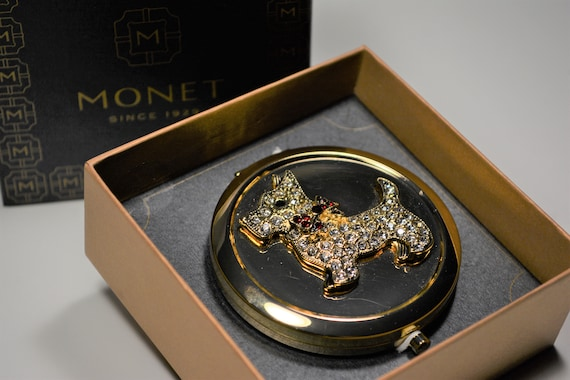 Monet Compact, Scottish Terrier Mirror Compact, V… - image 6