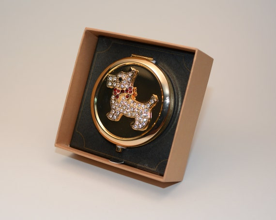 Monet Compact, Scottish Terrier Mirror Compact, V… - image 5