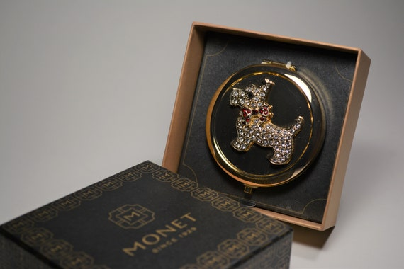 Monet Compact, Scottish Terrier Mirror Compact, V… - image 4