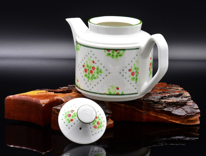 Vintage Teapot Strawberry Teapot Enesco Teapot Vintage Enesco Swiss Strawberry Dot Teapot 1970 Swiss Strawberry Vintage Fine China
