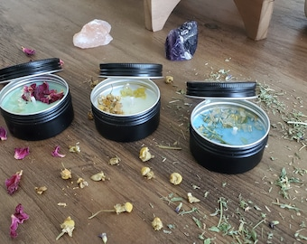Herb and Crystal Infused Intention Soy Wax Candle