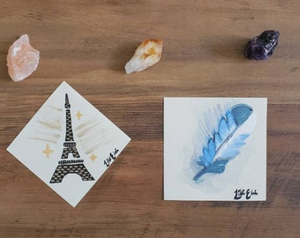 Small artistic paintings by Lillith Elaina 2021 5x5 unframed on canvas paper