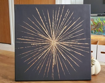 Gold sunburst on black painted canvas 12x12 stretched on bars