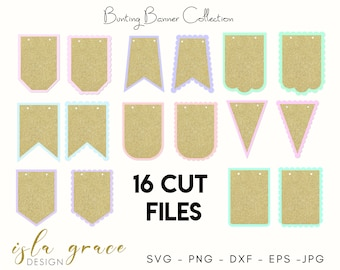 Banners Svg Pennant Bunting Svg Template Cut File Curved Etsy