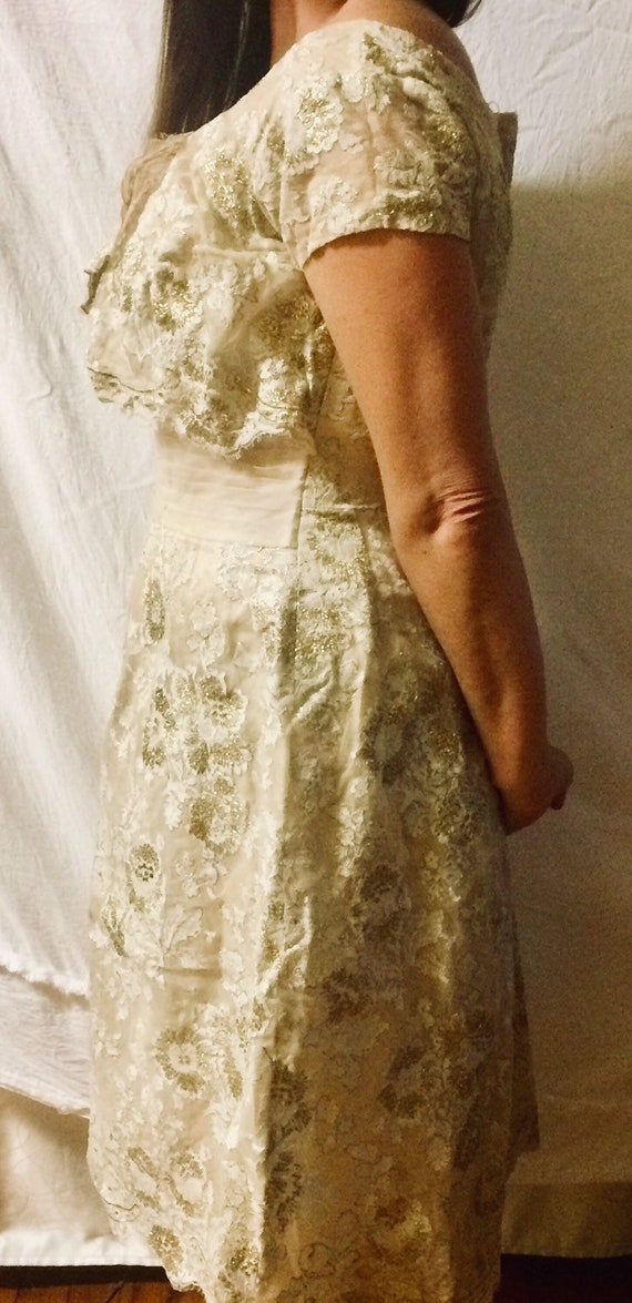 40's/50's Gold lace tulle formal dress
