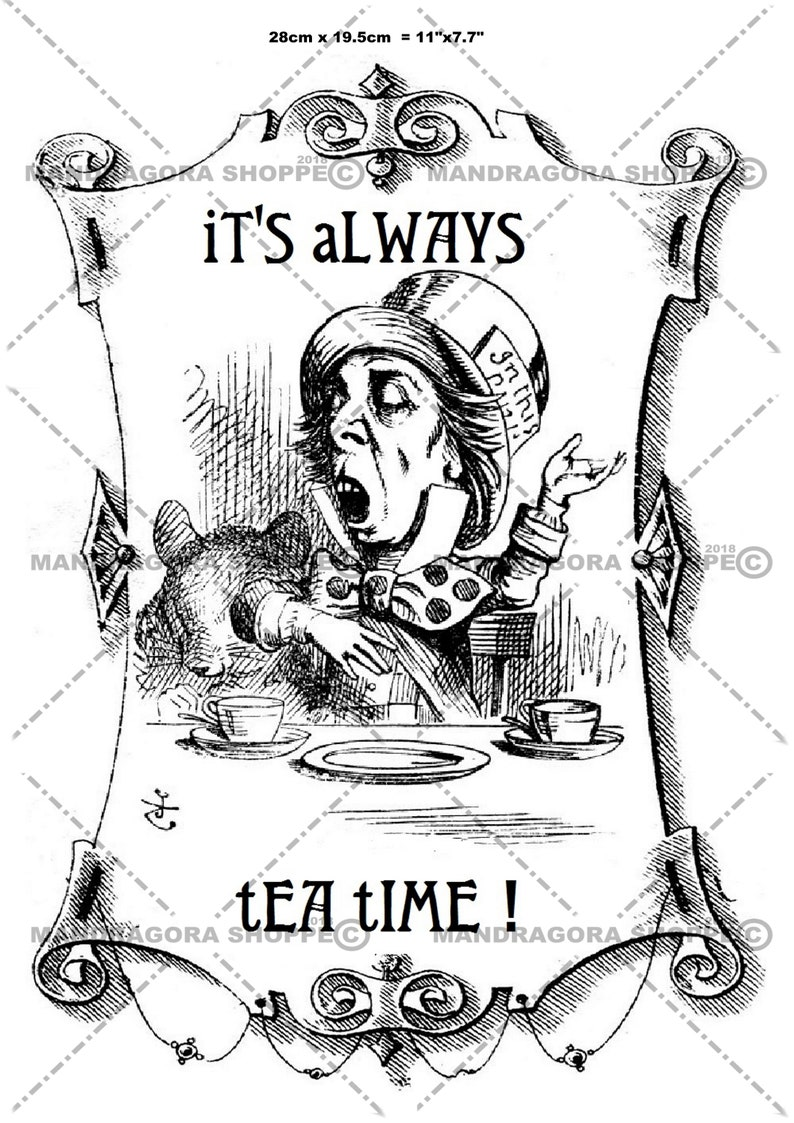 Alice in Wonderland it/'s always tea time decoupage paper decoupage sheet thin tissue paper Mad hatter black and white