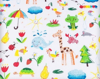 Back to school fabric Preschool fabric Kids fabric by the Yard-Meter Funny animals cotton fabric Baby quilt material Childrens Kids drawing