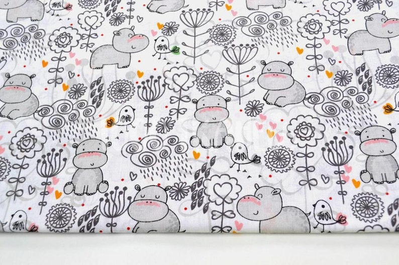 Hippo Hippopotamus fabric Boys print Nursery fabric Toddler fabric African animals 100/% cotton material Baby fabric by the yard meter