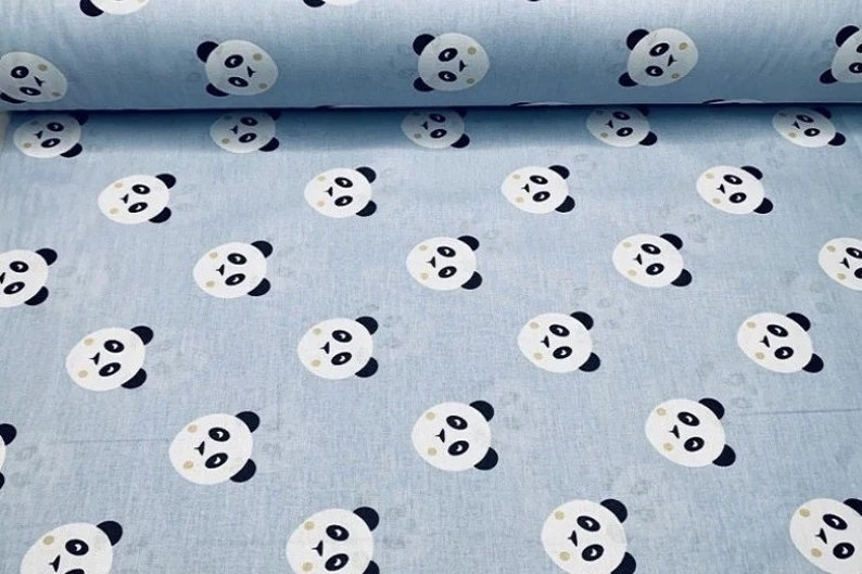 Panda fabric Grey nursery Baby boy cotton fabric by the yard meter Panda bear fabric for Quilting Boys quilt fabric Zoo animals Kids print