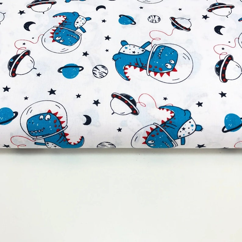 Dinosaur Dino Trex fabric by the Yard Metre 100 cotton for baby boy nursery Space Astronaut funny print fabric Boys quilt fabric Kid Toddler