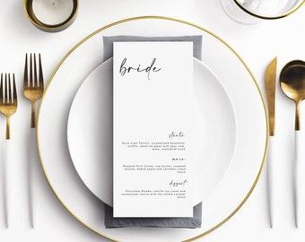 ALPHA | Personalised Wedding Menu Cards | Birthday Menu | Modern | Elegant & Minimal | Matching Stationery