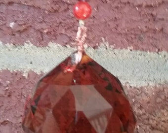 maroon and orange glass beads Orange /& maroon  burgundy suncatcher with orange ball prism and a perfect center faceted orange glass gem!