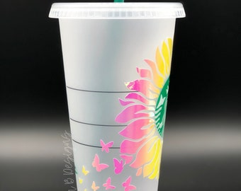 Sunflower and Butterflies Starbucks Reusable Venti Cup | Floral Cup Personalized with Name | Coffee