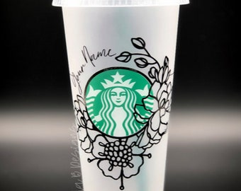 Floral Starbucks Reusable Venti Cup | Flower Cup Personalized with Name | Iced Coffee