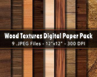 9 Wood Textures Digital Paper Pack   Natural Rustic Wood Digital Paper, 12x12 Inches Wood Scrapbook Paper, Dark Wood Paper, Dark Brown Wood