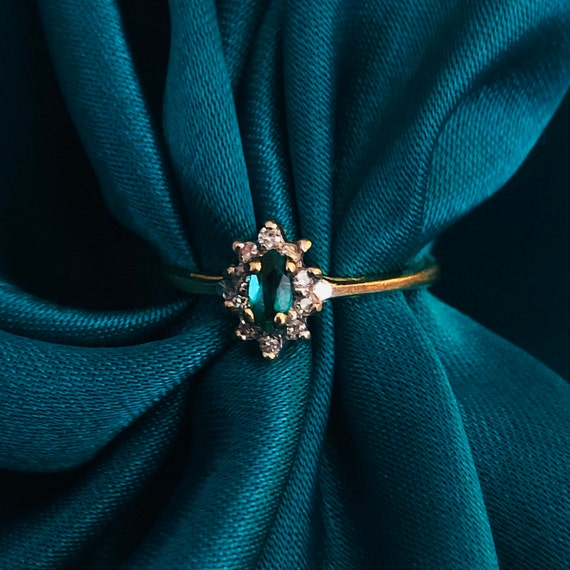 Emerald ring green 10k solid gold stackable ring m