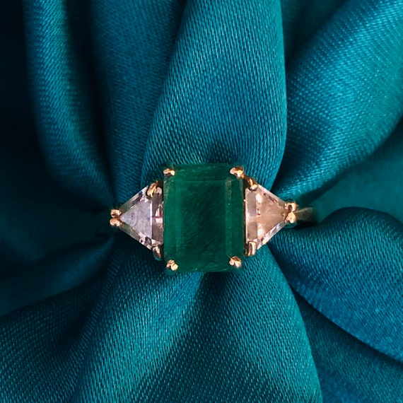 Emerald Ring 10k Gold Ring Solid gold emerald ring