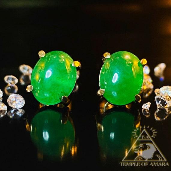 Emerald Earrings 14k Gold Earrings Large Emerald C