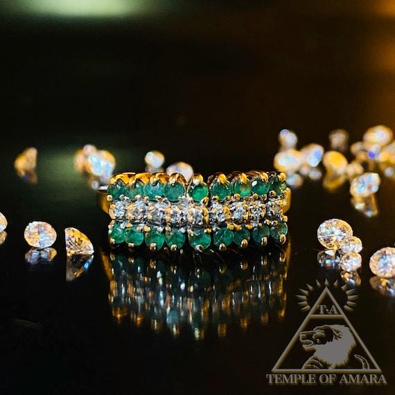 10k Gold Natural Emerald Diamond Ring Solid Gold V