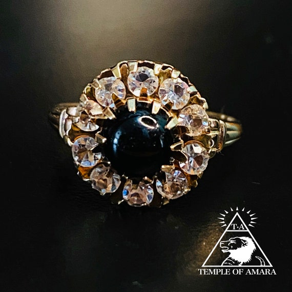 10k Gold Antique Victorian Onyx Topaz Cluster Ring