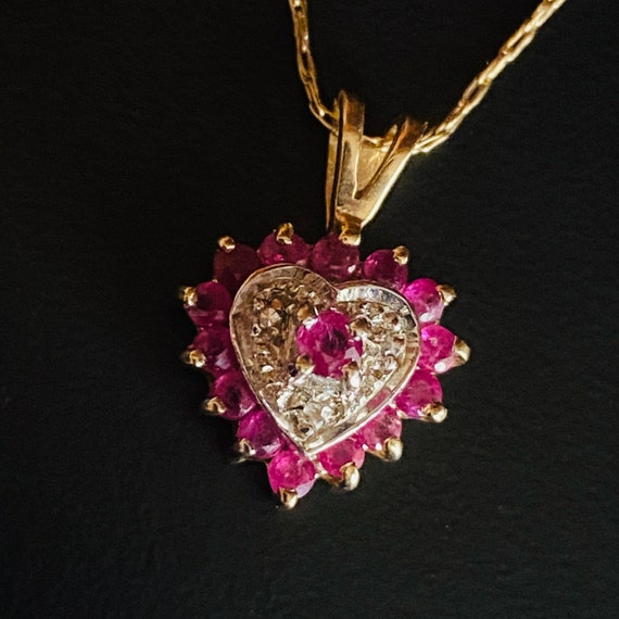 10k Gold Natural Ruby Necklace Natural Ruby Diamon
