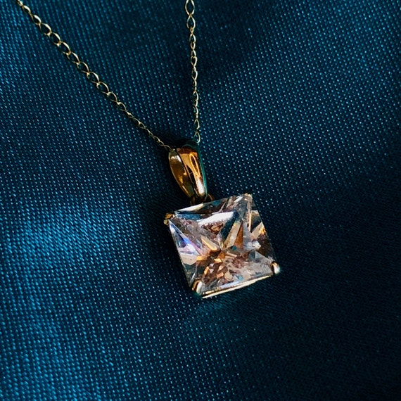 14k Gold Crystal Necklace Gold Diamond Like Neckla